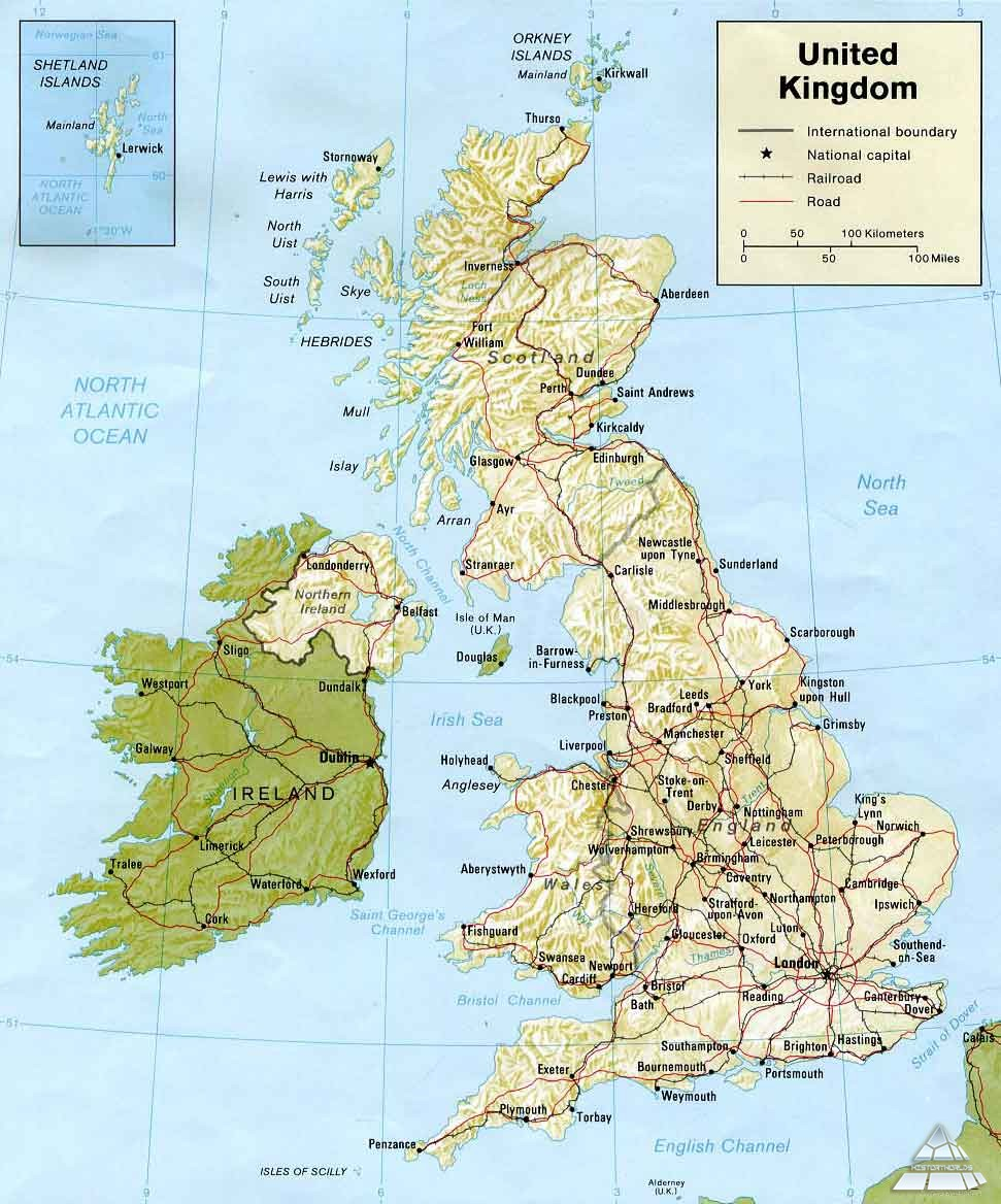 Karta Anglii I Irlandii Karty Galereya