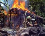 Американские солдаты сжигают базу партизан